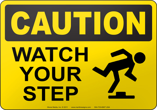 pin caution watch your step with down arrow sign on pinterest